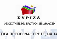 Εκδήλωση του ΣΥΡΙΖΑ Αγίας Παρασκευής για τα χρέη και τους πλειστηριασμούς.
